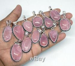 Wholesale Lot! 100 PCs Natural Rose Quartz Gemstone. 925 Silver Plated Pendant
