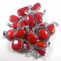 Wholesale Lot! 100 PCs Red Coral Gemstone Silver Plated Gift Pendant Jewelry