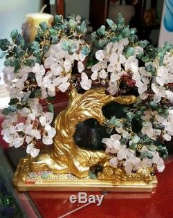 Wisteria Gemstone Bonsai Tree w emeralds, rose quartz, garnets+ Free pendant