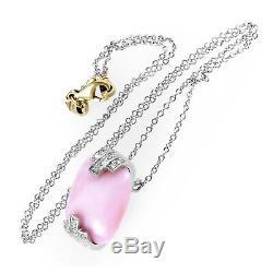 Women's 18K White Gold Diamond & Rose Quartz Pendant Necklace 230-00011