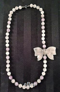 Women's 23.5 Sterling Silver & Rose Quartz Butterfly Pendant Necklace
