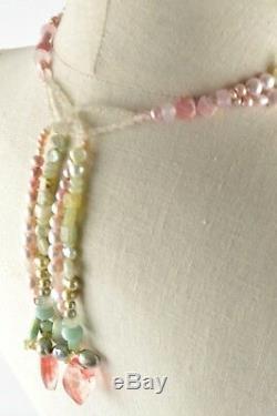 Womens White & Pink Pearl Tassel Back Necklace Carved Rose Quartz Flower Pendant